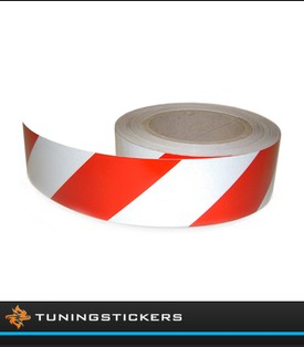 (U) Reflecterende tape 50 mm Rood / Wit (Rechts)