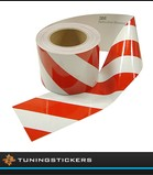 Reflecterende tape 100 mm Rood / Wit (Links)