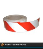 Reflecterende tape 50 mm Rood / Wit (Links)